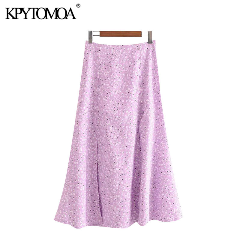KPYTOMOA Women 2020 Chic Fashion Print With Slits Midi Skirt Vintage Back Zipper Decorative Buttons Female Skirts Faldas Mujer