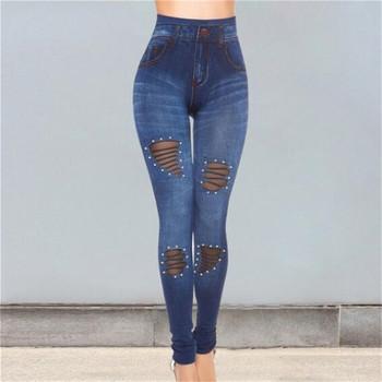 Niebieska w stylu Casual dżinsy dżinsy z dziurami Pancil spodnie Casual Stretch spodnie skinny fit dżinsy kobiet wysokiej talii Stretch dżinsy tanie i dobre opinie hengsong Poliester Pełnej długości Women Na co dzień Zmiękczania Wysoka Zipper fly Fałszywe zamki Ołówek spodnie