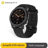 In Lager Globale Version Neue Amazfit GTR 42mm Smart Uhr 5ATM Smartwatch 12 Tage Batterie Musik Steuerung Für Xiaomi android IOS