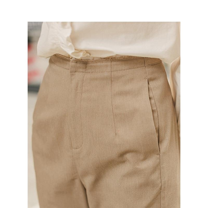 Image 4 - INMAN Spring Autumn Minimalism Medium Waist Split Slim Slit Khaki Women Casual PantsPants & Capris   -