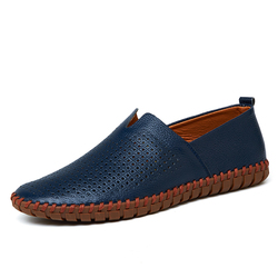 Leather Men Shoes Summer Breathable Soft Men Luxury Driving Shoes Slip on Casual Male Loafers Comfort moccasins Big Size 39-50