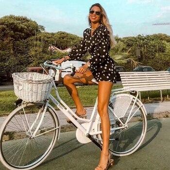 Chic Women Polka Dot Print Fashion Za Black Playsuits 2019 Summer Vintage Long Sleeve High Waist With Belt Short Jumpsuit Femme 5