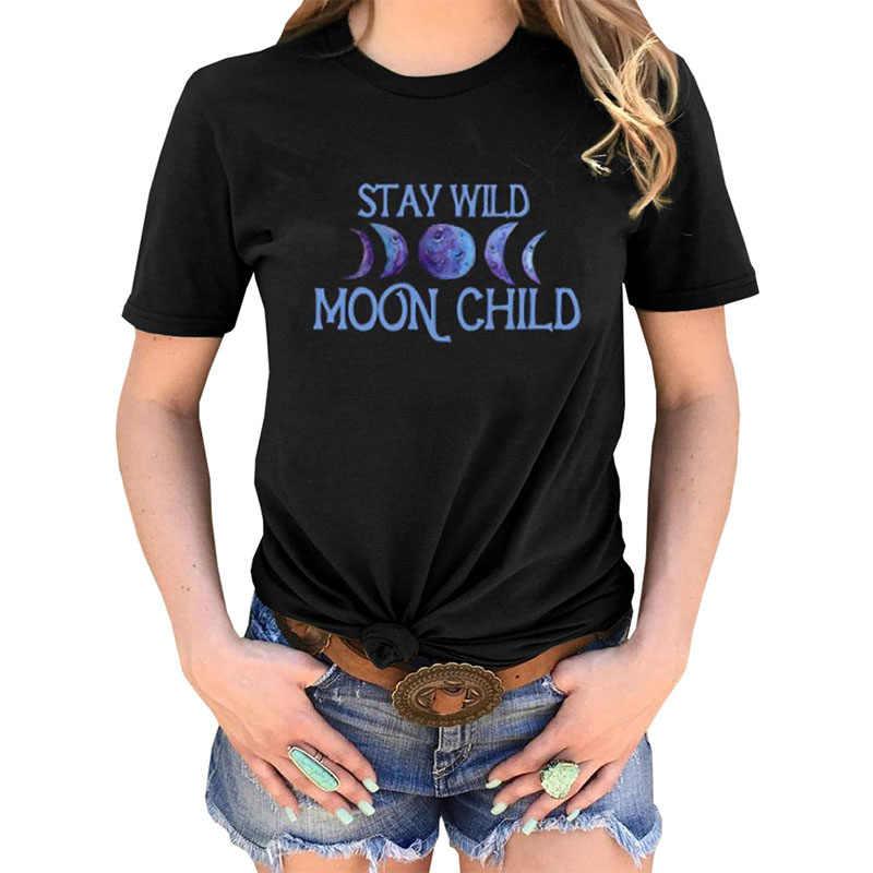 Gothic ผู้หญิง Tshirt ดวงจันทร์พิมพ์เสื้อยืดหญิงแขนสั้น Tees camiseta de las mujeres