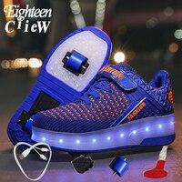 Boyutu 29-40 parlayan Sneakers ile tekerlekler paten USB şarj Krasovki silindirleri aydınlık Sneakers erkekler için silindirler ile