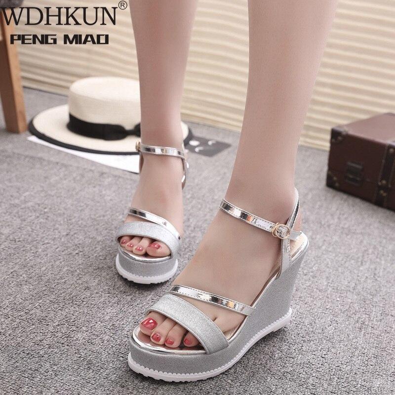 WDHKUN Sandals Women Wedges Shoes Platform Summer Women Sandals High Heels Bling Shoes Wedding Party Sandals Silver