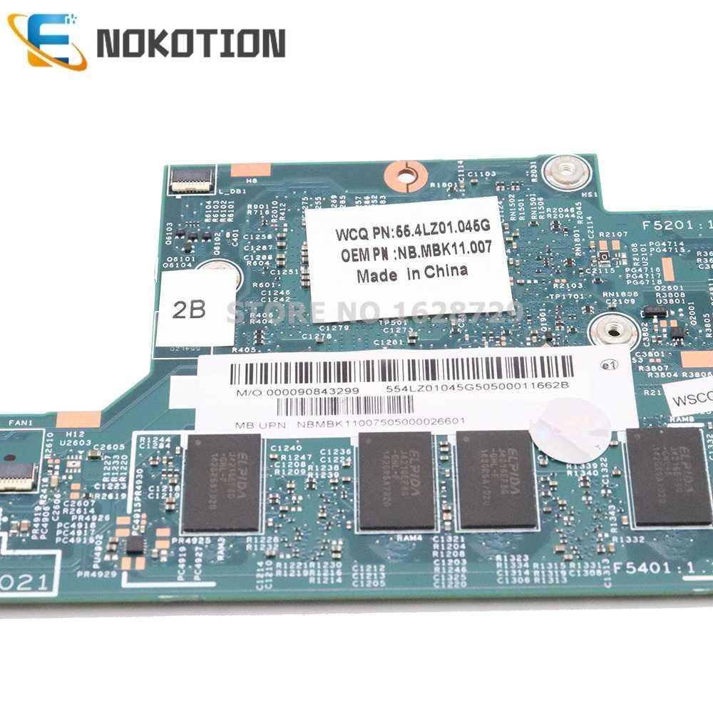 NOKOTION لشركة أيسر أسباير S7-392 اللوحة الأم للكمبيوتر المحمول NBMBK11007 NB. MBK11.007 48.4LZ02.021 SR1EF I5-4210U وحدة المعالجة المركزية 4G RAM