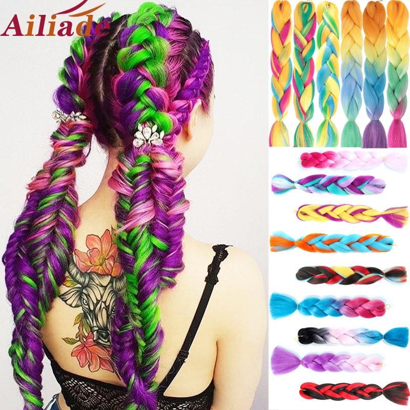 AILIADE 24inch Ombre Crochet Synthetic Kanekalon Jumbo Braiding Hair Bundles Black Purple Rainbow Braids Fake Hair Extensions