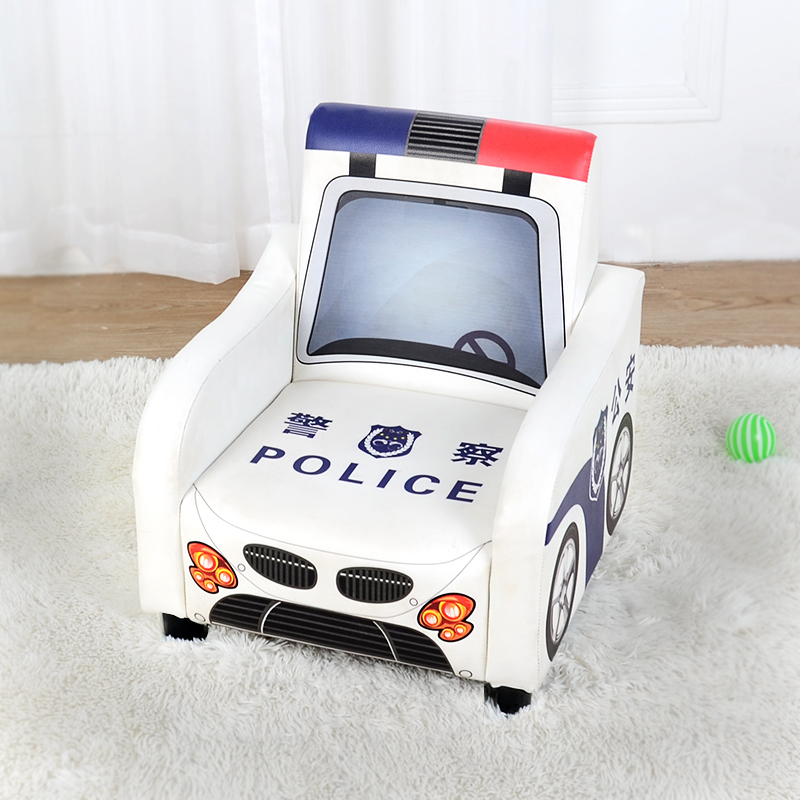 NEW Children's Sofa Seat Cartoon Boy Police Car Single Seat Leather Small Sofa Mini Cute Lazy Couch