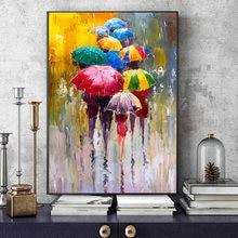 Портрет абстрактной девушки за зонтом картины маслом Печать
