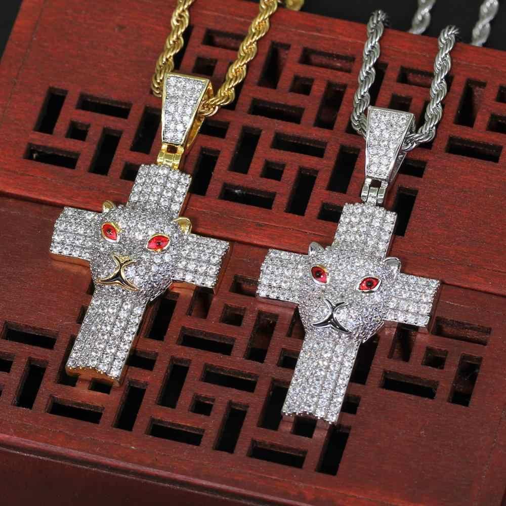 אייס פליז CZ Leopard צלב תליוני גברים של היפ הופ שרשרת זהב כסף תכשיטי שרשרות jwellery