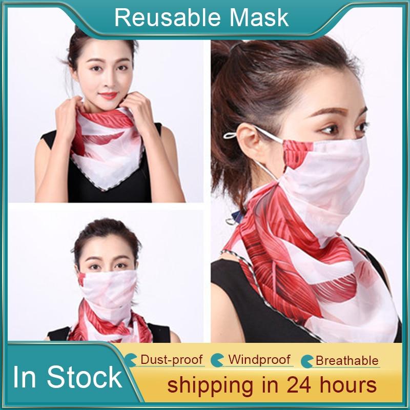 1Pc Summer Female UV Masks Sport Outdoor Travel Face Shawl Anti Haze Pollen Dust Masks Neck Protection Sunscreen Veil Masks