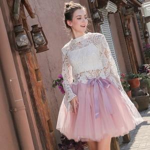 Image 3 - 7Layered 50cm Tutu Tulle Skirts Womens High Waist Swing Dolly Ball Gown Underskirt Mesh Summer Midi Skirt Faldas Saias Jupe