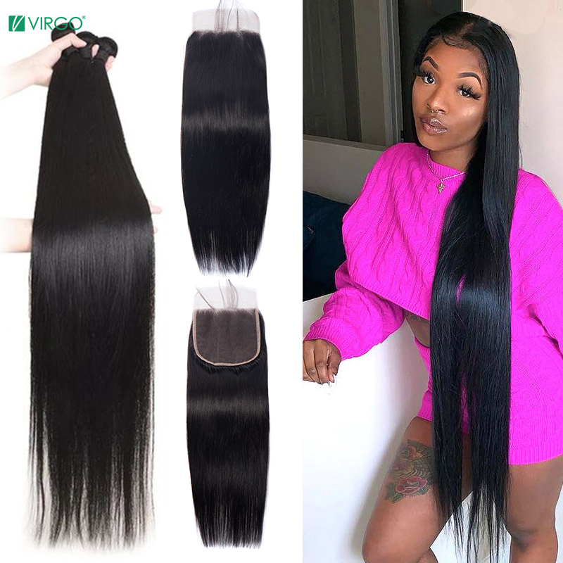 Девы бразильские прямые волосы 28 30 дюймов Пряди с закрытием застежка с 3 пряди человеческие волосы пряди с закрытием