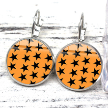 New Simple Small Star Earrings Female Models Multicolor Harajuku Cartoon Printing Glass Fashion Jewelry Gift Wholesale