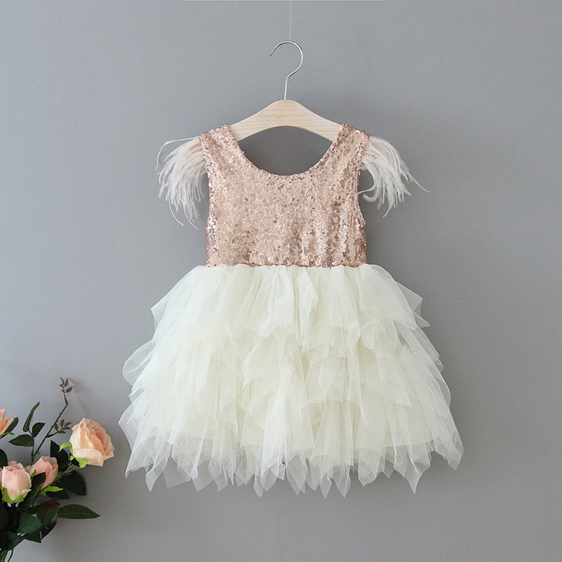 69-13-Feather Sequins Tiered Girls Dress