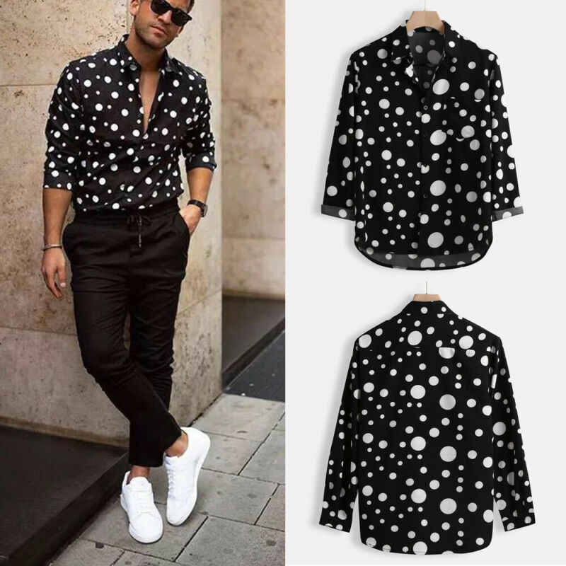 새로운 패션 남자 폴카 도트 셔츠 버튼 슬림 맞는 긴 소매 Boho 휴일 캐주얼 셔츠 Bouse 탑스