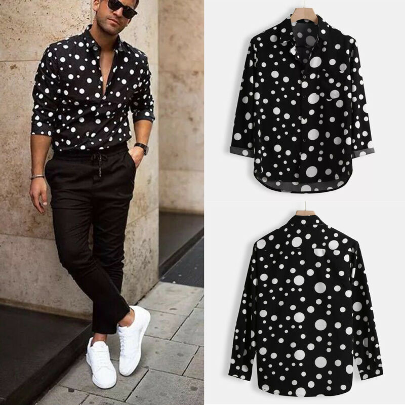 New Fashion Men's Polka Dot Shirt Button Down Slim Fit Long Sleeve Boho Holiday Casual Shirts Bouse Tops