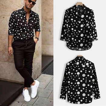 New Fashion Mens Polka Dot Shirt Button Down Slim Fit Long Sleeve Boho Holiday Casual Shirts Bouse Tops