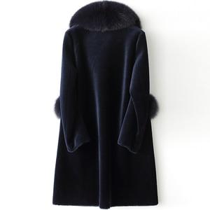 Image 3 - AYUNSUE veste dhiver pour femme, manteau de fourrure de renard, longue manteau en laine 100%, grande taille, XESD1811