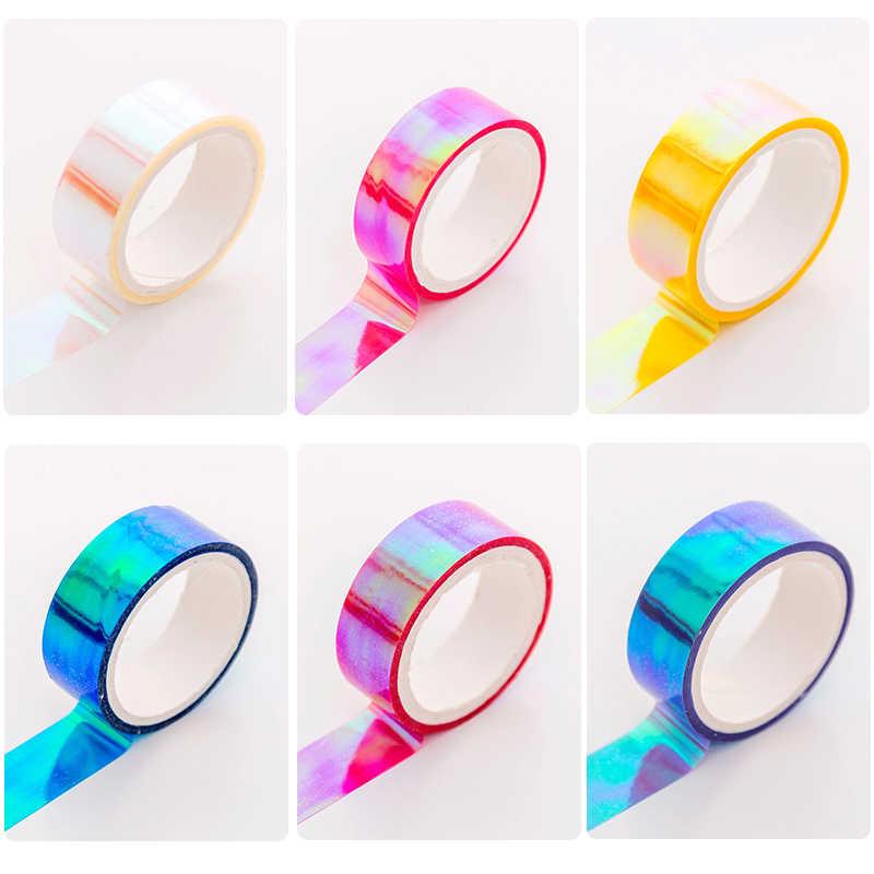 5M láser papel Washi brillante cinta de colores de caramelo con adhesivo decorativo cintas de Carrocero para Scrapbooking chicas de álbumes de papelería cinta