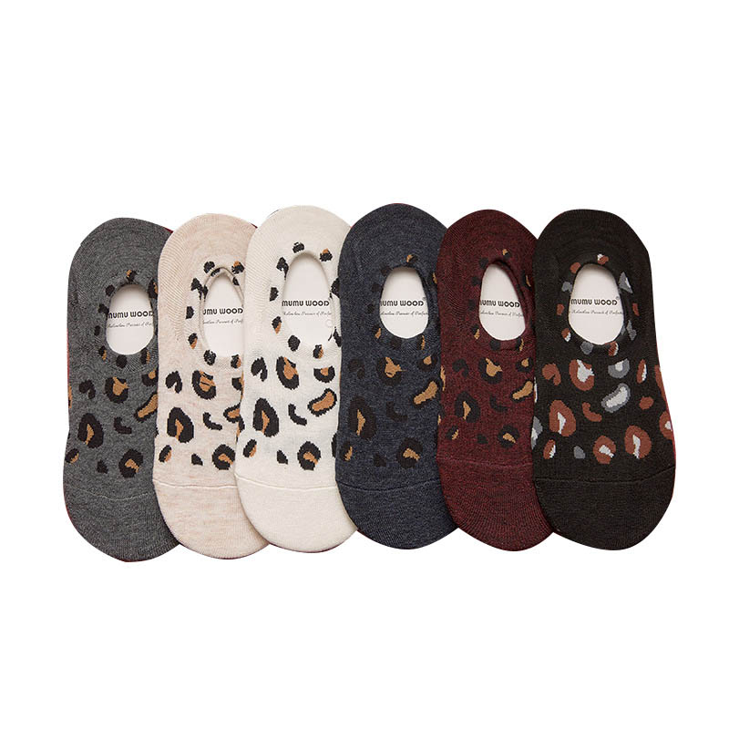 Leisure Cotton Solid Color Texture Leopard  Thin Section Short Sock Shallow Mouth Breathable Comfortable Women Nonslip Short Soc