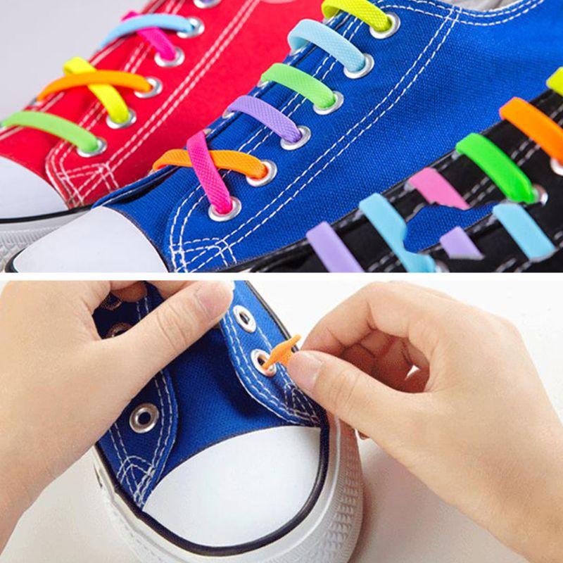 12Pcs Kids Elastic Silicone Shoelaces No Tie Candy Color Shoe String 4.1-6.05cm