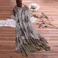 summer 2019 patchwork big size long dress casual large size women cotton linen dress plus size 5xl print floral bohemian dress