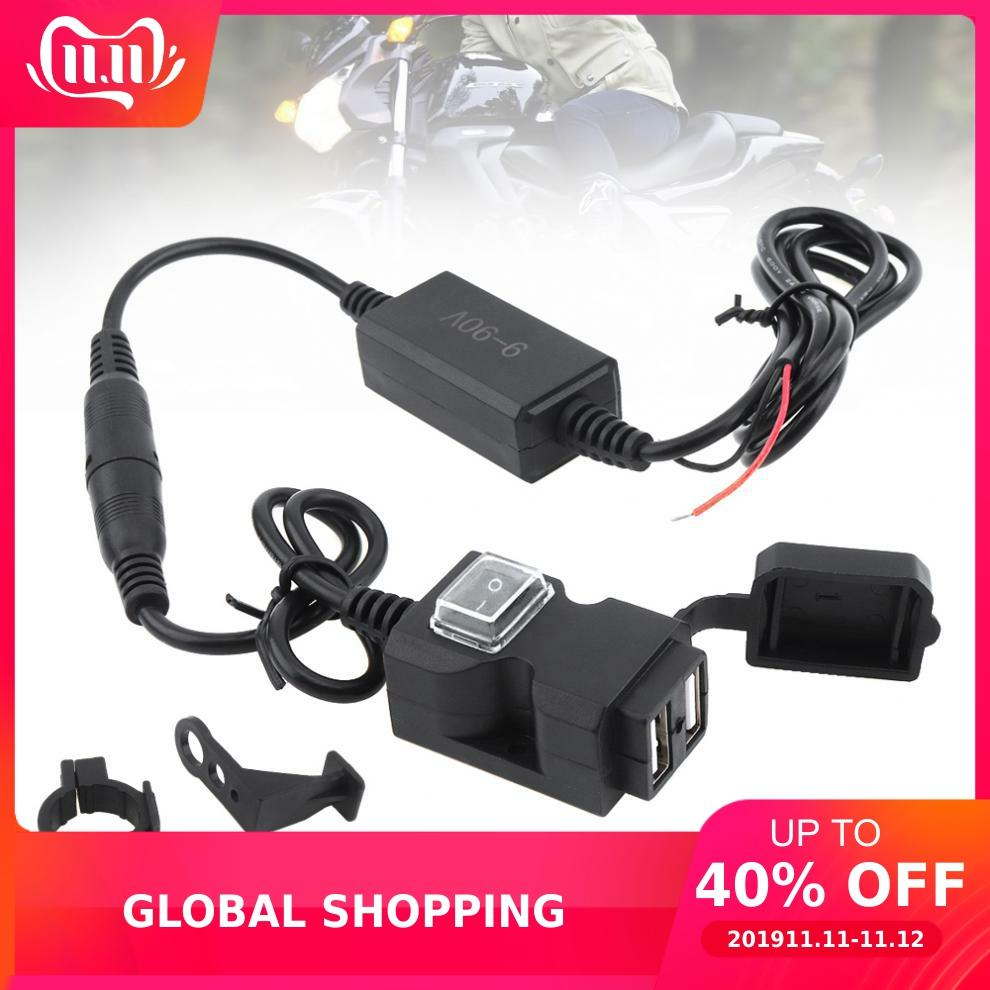 9V-90V DC 5V 2.1A 1A Double USB Waterproof Motorcycle Charger Adapter Mobile Phone Charger With Switch Button And Base Brackets