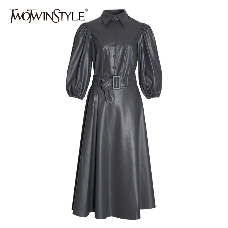 TWOTWINSTYLE PU Leather Two Piece Set For Women Puff Sleeve Shirts High Waist Sashes Skirts Female Suits 2019 Autumn Fashion New