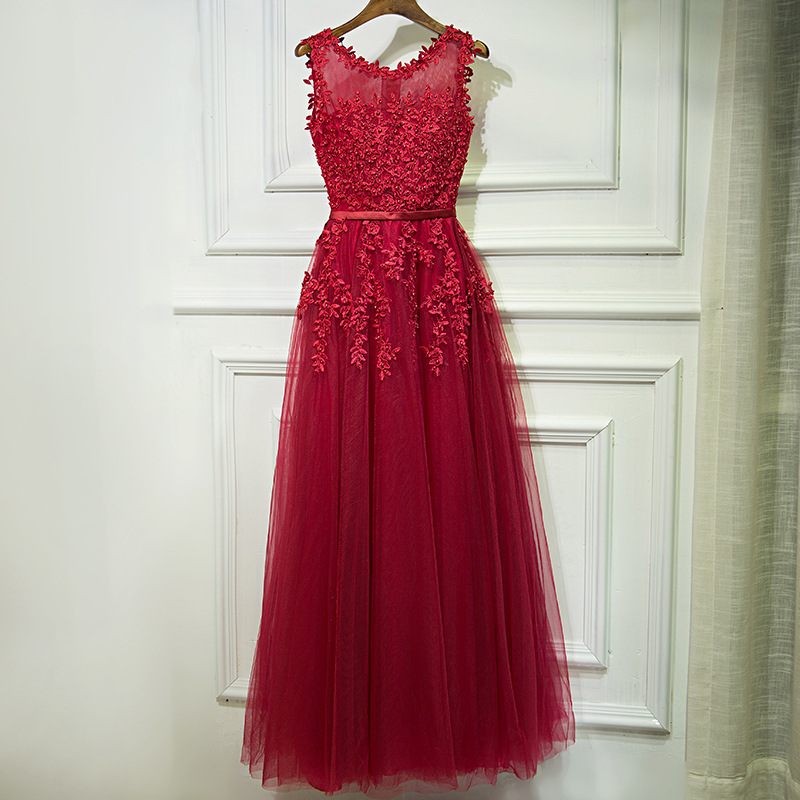 Party Gowns Evening-Dresses Tulle Formal Long Elegant Beads Pearls Sexy Sleeveless Lace