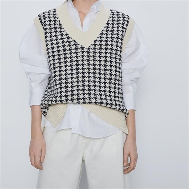 ZXQJ2020 Women Houndstooth Vest Sweater Casual V Neck Sleeveless Autumn Winter Jumper Knitted Korean Style Pullover Loose Tops