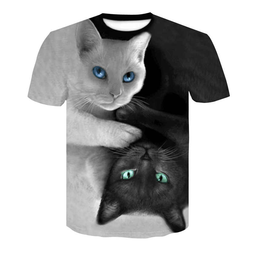 2019 夏高品質ラウンドネック Tシャツ男性と女性の 3d Tシャツ猫 Tシャツ猫食べるトルティーヤピザシャツ Tシャツトップ