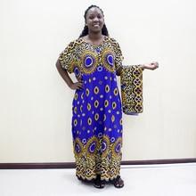 Dashikiage הדפס מנומר 100% כותנה האפריקאי דאשיקי כחול קצר שרוול כחול שמלות לנשים