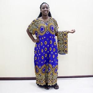 Image 1 - Dashikiage Da Báo 100% Cotton Châu Phi Dashiki Xanh Tay Ngắn Xanh Dương Váy Đầm Cho Nữ
