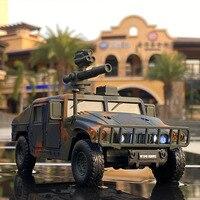 Hummer-vehículo blindado H1 para niños, vehículo todoterreno de juguete a prueba de explosiones, modelo de coche en espiral de aleación, 1:32