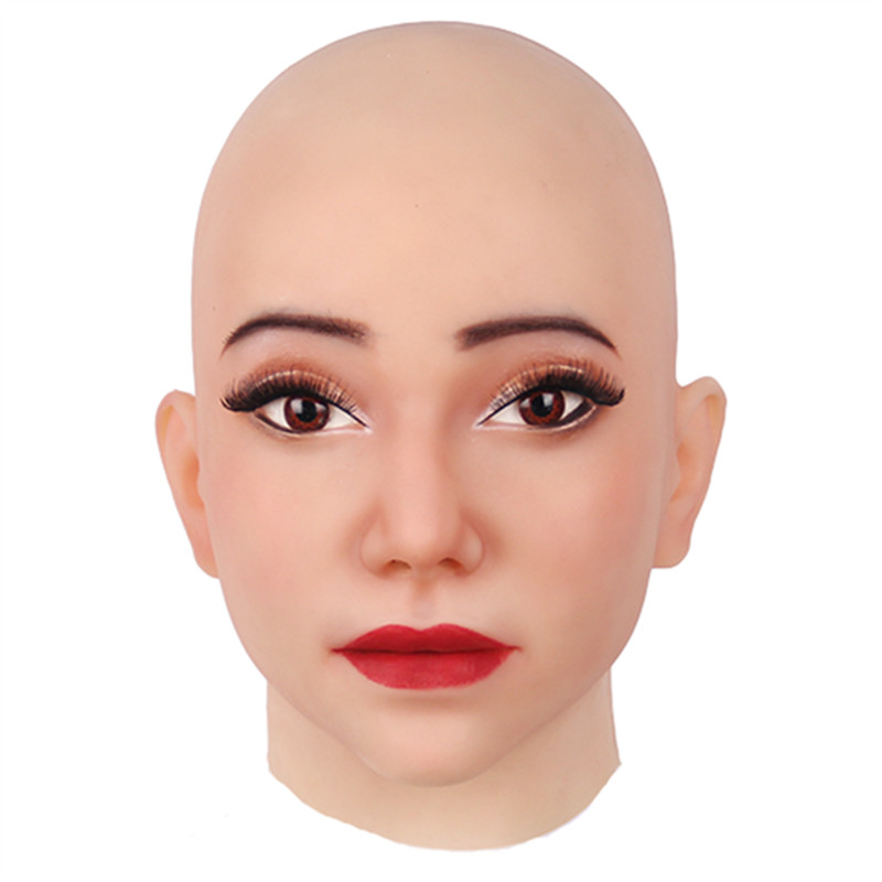 Full Head Realistic Silicone Halloween Mask Face Human Skin Female For April Fool's-Day Masquerade Cosplay Spoof Tricky Props
