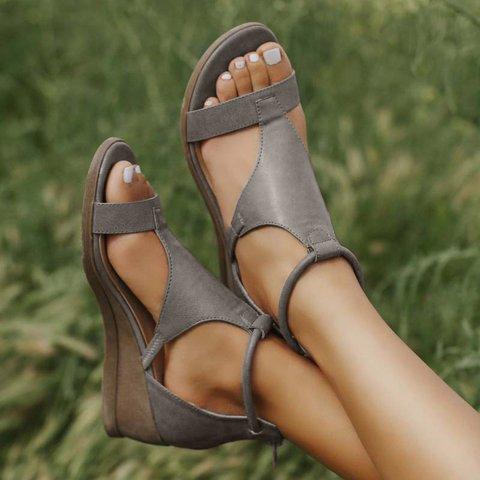 2020 Women Summer Sandals Mid Heels Wedges Shoes Woman Vintage Gladiator office Sandalias Party Beach Shoes Plus Size Dropship