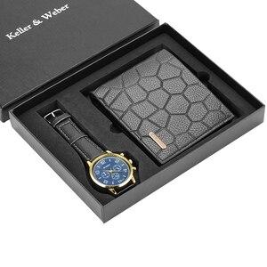 Image 5 - Men Watches Quartz Leather Minimalist Wrist Watch Card Holder Wallet Watch Men Gift Set for Dad Husband Boy Friend Reloj Hombre
