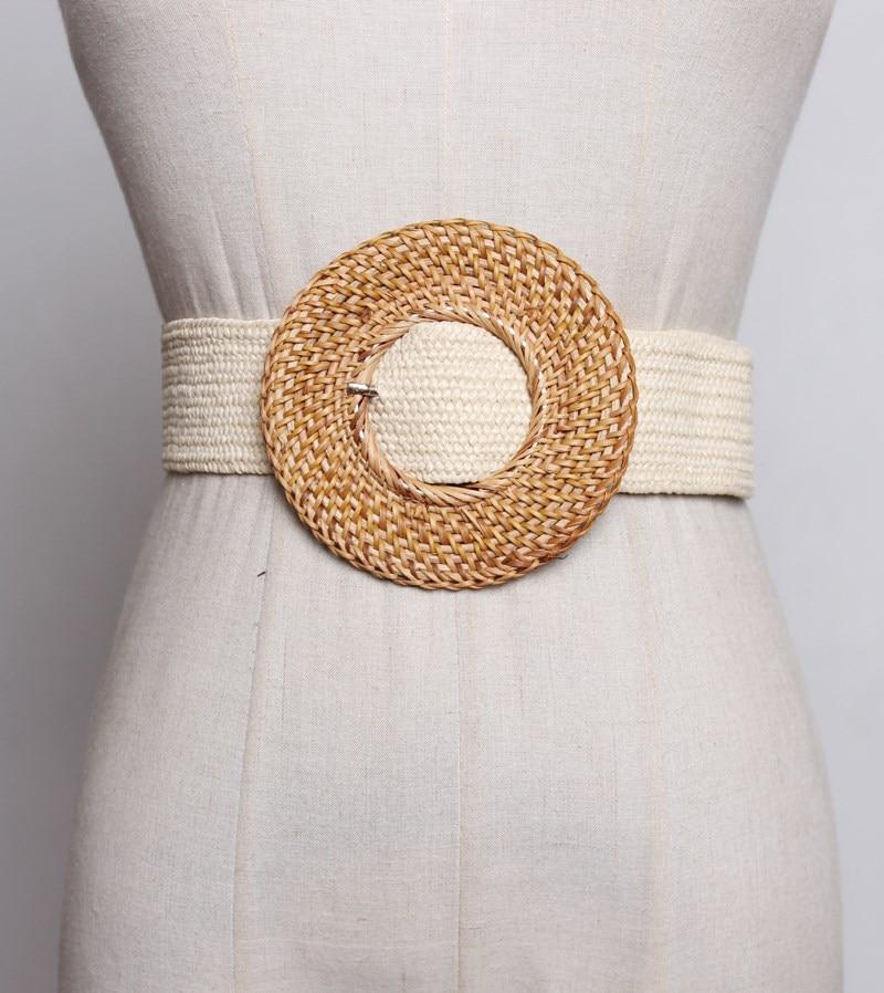 Summer Elastic Imitate Woven Straw Waist Belts Square Buckle Adjustable Woven-straw Waistband Bohemian Beach Dress Belts