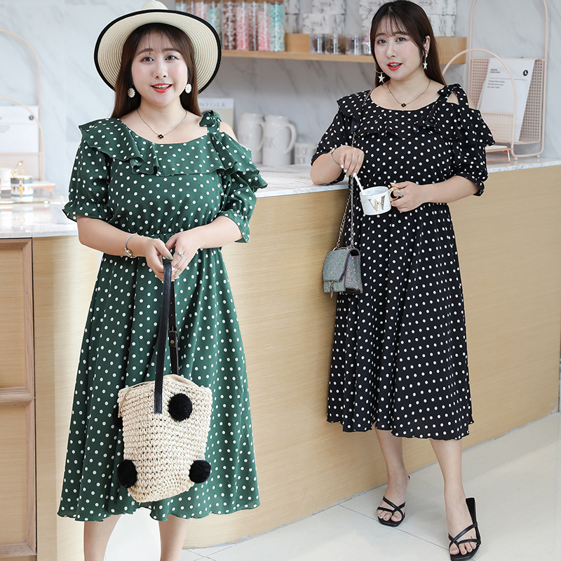 [Xuan Chen] Fat Mm Very Fairy Of Polka Dot Dress 2019 Summer New Products Large Size Dress 200 Slimming Skirt Y094