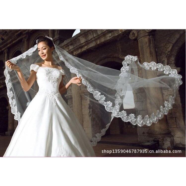 Bride Computer Lace-up Five Metres Veil Wedding Dress Headdress 1-5 Beige White Embroidery Edge Wedding Head Sand