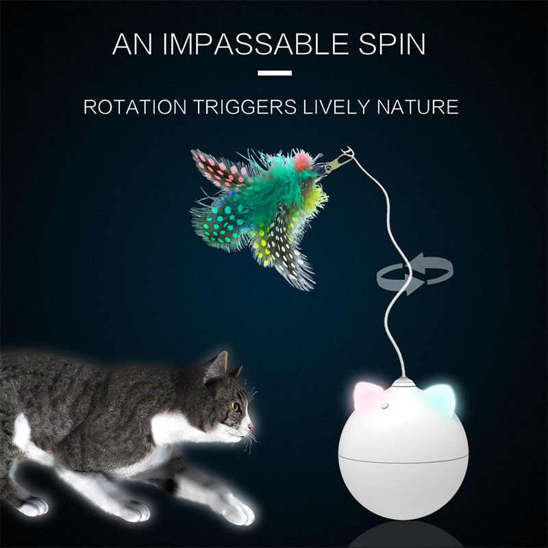 Automatico Cat Toy Sfera di Rotolamento Led Colorato Orecchio di Gatto Giocattoli Interactive Elettrico Bastone Gatto Giocattolo Pet Gatos Productos Para Mascotas