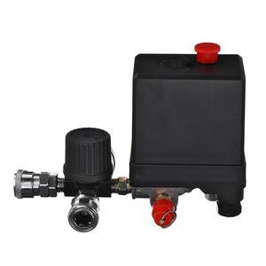 Image 4 - Commutateur de contrôle de pression de pompe de compresseur dair 4 ports 220V/380V régulateur de décharge de collecteur 30 120PSI soupape de commande avec jauge