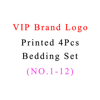 Luxury Brand Printed Duvet Cover Sets With Pillowcase Sheet Queen Bedclothes Vip Brand Logo Printed 4Pcs Bedding Sets no 1-12