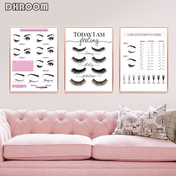 Makeup Wall Art Eyelash Extension Style Guide Posters and Prints Eyelash  Technician Business Form Canvas Painting Decor Picture