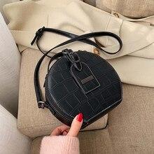 Moda küçük yuvarlak çanta 2019 kış yeni çapraz vücut çanta taş desen küçük çanta omuz fermuarlı çanta cep telefonu çanta