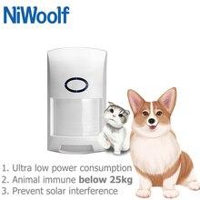 433MHz czujka PIR dla zwierząt, czujnik ruchu, odpowiedni dla zwierząt poniżej 25kg, do Wifi/GSM domowy System przeciwwłamaniowy