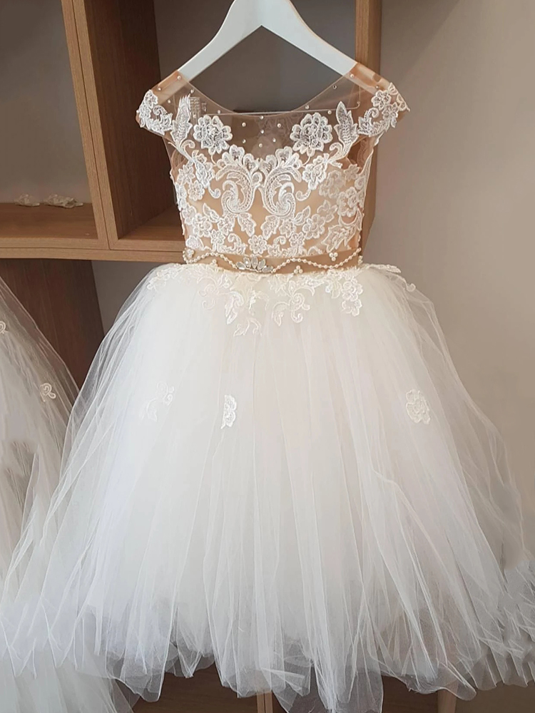 Dresses Ball-Gown Satin-Belt Crystal Flower-Girl Ivory Lace Scoop Pearls Tulle Puffy