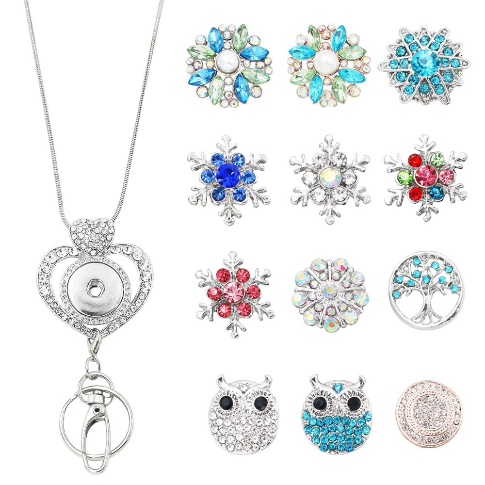 Idclip 1Set Heart Lanyard Badge Holder Necklace Snap Jewelry Charms Pendant Clip Office ID Holder Accessories