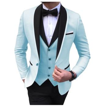 Blue Slit Mens Suits 3 Piece Black Shawl Lapel Casual Tuxedos for Wedding Groomsmen Suits Men 2020 (Blazer+Vest+Pant) 11